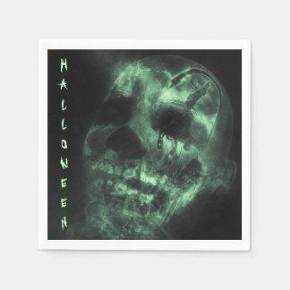 Glödande Halloween skalle i grönt Papper Servett