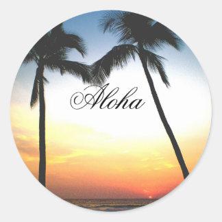 Glödande Hawaii solnedgång Runt Klistermärke