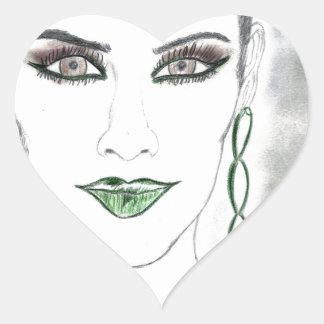 Glödande kvinna hjärtformat klistermärke