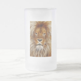 Glödande lejont porträtt frostat ölglas
