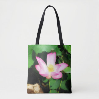 Glödande lotusblomma tygkasse