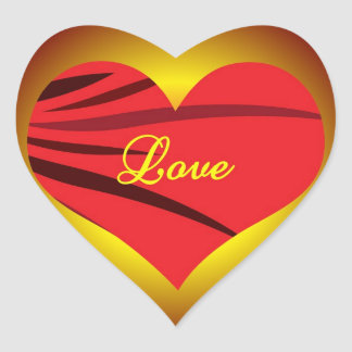 Glödande röda hjärtaklistermärkear som är glansiga hjärtformat klistermärke