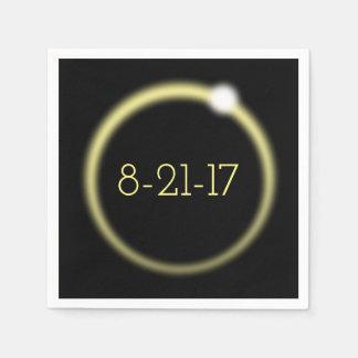 Glödande sammanlagd sol- förmörkelse 2017 för kran servetter