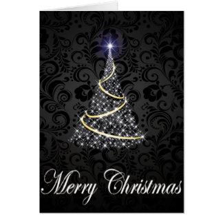 Glödande träd för god jul hälsningskort