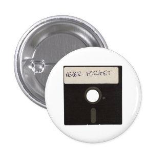 Glöm aldrig datordisketter mini knapp rund 3.2 cm