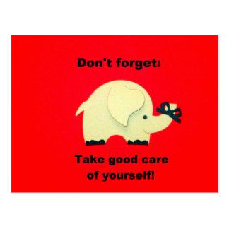Glöm inte: Ta bra omsorg av dig! Vykort