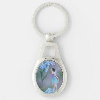 Glöm mig inte blomman felika ovala Keychain Ovalt Silverfärgad Nyckelring