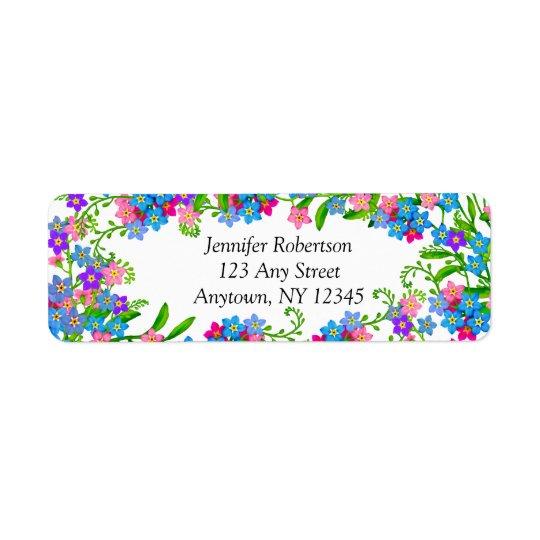 Glöm mig inte trädgårds- blommaadressetiketter returadress etikett