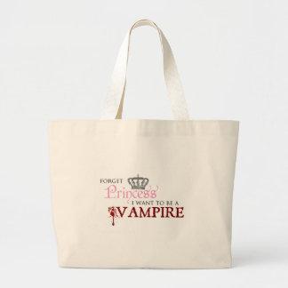 Glöm princessen mig önskar att vara en vampyr tote bags