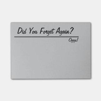 Glömskt är Posta-det Post-it Lappar