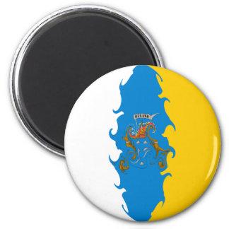 Gnarly flagga för kanariefågelöar magneter