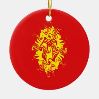 Gnarly flagga för Kirgizistan Rund Julgransprydnad I Keramik