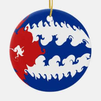 Gnarly flagga för Kuba Rund Julgransprydnad I Keramik