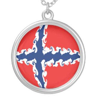 Gnarly flagga för norge halsband med rund hängsmycke