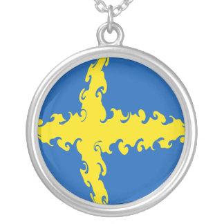Gnarly flagga för sverige halsband med rund hängsmycke