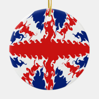Gnarly flagga för UK Rund Julgransprydnad I Keramik