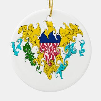 Gnarly flagga för US Virgin Islands Rund Julgransprydnad I Keramik