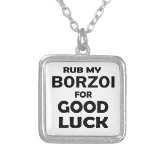 Gnid min Borzoi för lycka till Halsband Med Fyrkantigt Hängsmycke