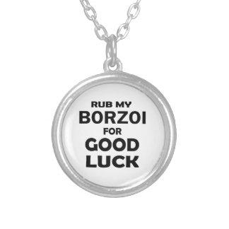 Gnid min Borzoi för lycka till Halsband Med Rund Hängsmycke