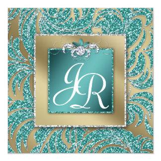 Gnistra för kricka för elegant bröllopinbjudanlöv fyrkantigt 13,3 cm inbjudningskort