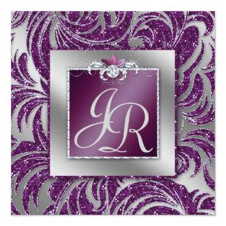 Gnistra för löv för 232 elegant bröllop blom- fyrkantigt 13,3 cm inbjudningskort