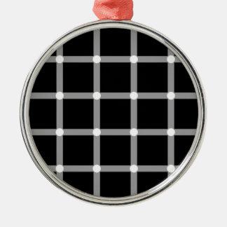 Gnistra optisk illusion för svart- & vitraster julgransprydnad metall
