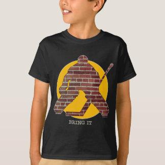 Goalie för tegelstenvägghockey t-shirt