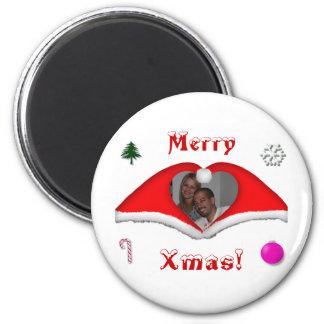 God jul ett foto i hjärtformade Julafton-hattar Magnet Rund 5.7 Cm