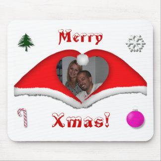 God jul ett foto i hjärtformade Julafton-hattar Mus Mattor