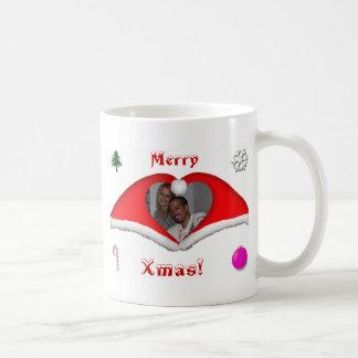 God jul ett foto i hjärtformade Julafton-hattar Vit Mugg