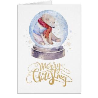 God jul för björn för vintersnö polar hälsningskort