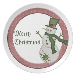God jul för KRW-landsnögubbe pläterar Tallrikar