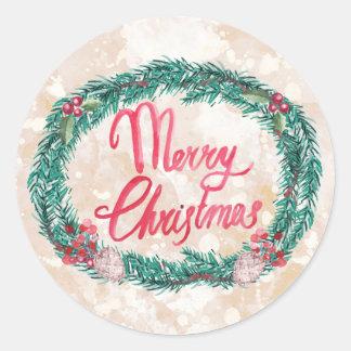 God jul för vattenfärggräskran runt klistermärke