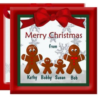 God jul från familjen av pepparkaka fyra fyrkantigt 13,3 cm inbjudningskort