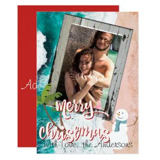 God jul från strandjulkortet 12,7 x 17,8 cm inbjudningskort