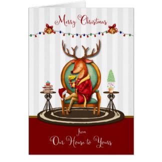 God jul från vårt hus till den din renen hälsningskort