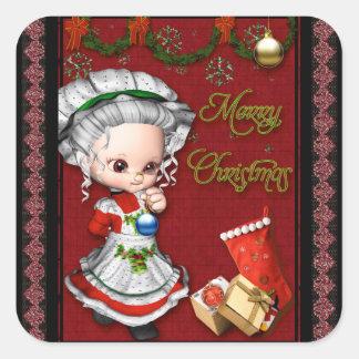 God jul Fru Claus Fyrkantigt Klistermärke