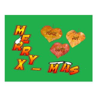 God jul & grön vykort för 3 hjärtformade löv