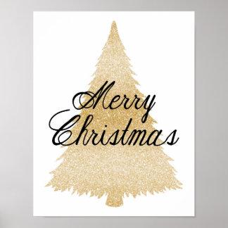 God jul - guld- julgran - affisch