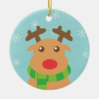 God jul - gullig ren med den röda näsan rund julgransprydnad i keramik