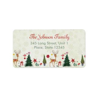 God jul hjort & adressetiketter för träd |