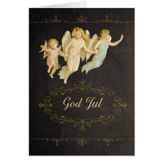 God jul i norrmannen, gud Jul, änglar Hälsningskort