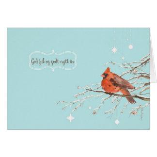 God jul i norrmannen, röd huvudsaklig fågel hälsningskort