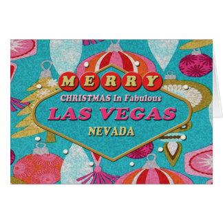 God jul i sagolika det Retro Las Vegas kortet Hälsningskort