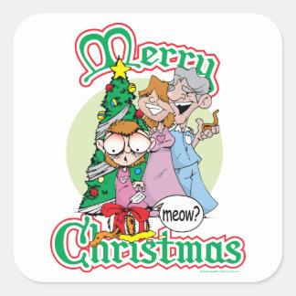 God jul jamar fyrkantigt klistermärke