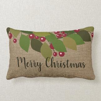 God jul! lantlig | FauxBurlap Lumbarkudde