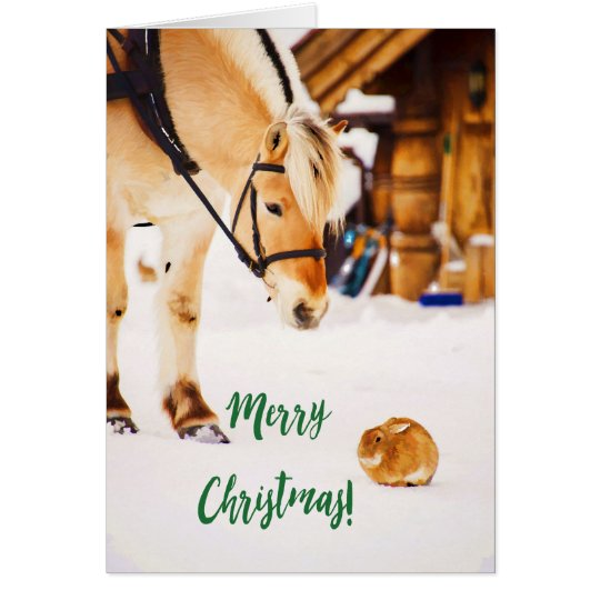 God jul med den gulliga hästen och kanin i snö hälsningskort