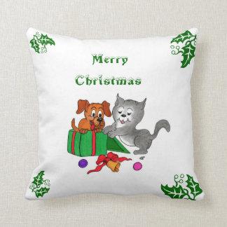 God jul med katten och valpen kudde