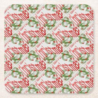 God jul med Stylized järnek Underlägg Papper Kvadrat