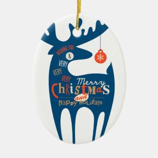 god jul och gott nytt år ovalformad julgransprydnad i keramik